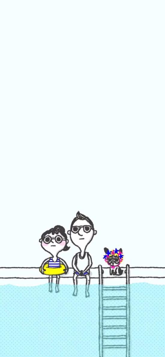 卡通 插画 情侣 泳池 小狗