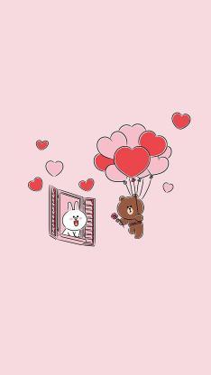 linefriends 布朗熊 可妮兔 粉色 爱心 爱情 气球