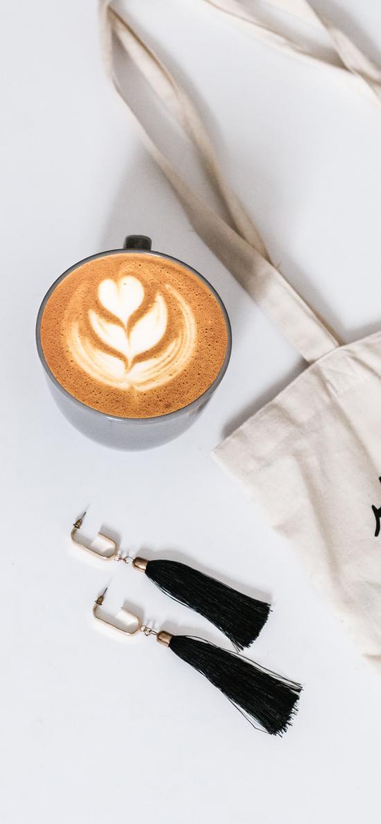 咖啡 耳环 装饰 帆布袋