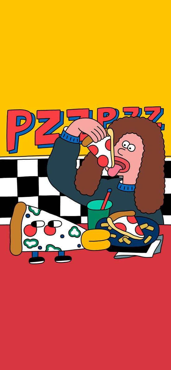 披萨 女孩 吃 插画 Hyeon Ju Kim