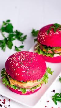 汉堡 红色 芝麻 芝士