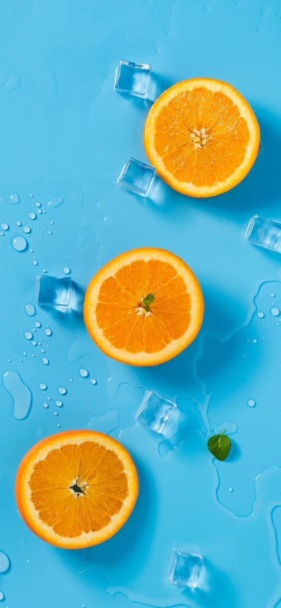 水果 橙  切片 冰块