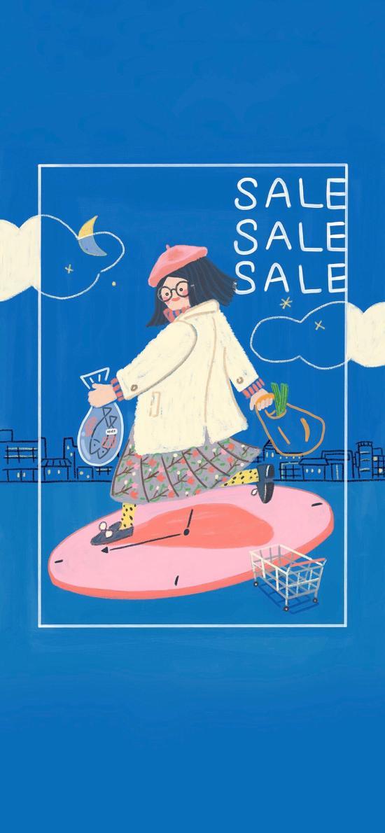 女孩 插画 购物 sale 插画师Friday412