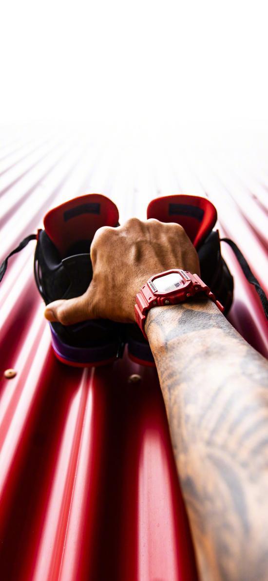 球鞋 运动鞋 手 纹身