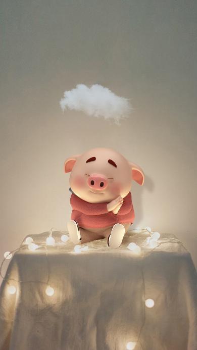 猪小屁 彩灯 云朵