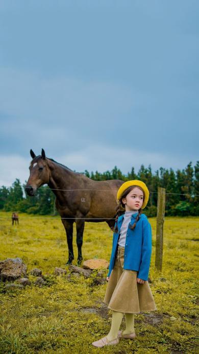 农场 小女孩 写真 马匹
