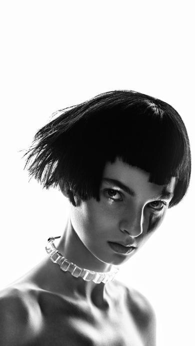 欧美美女 短发 写真 妆容 黑白