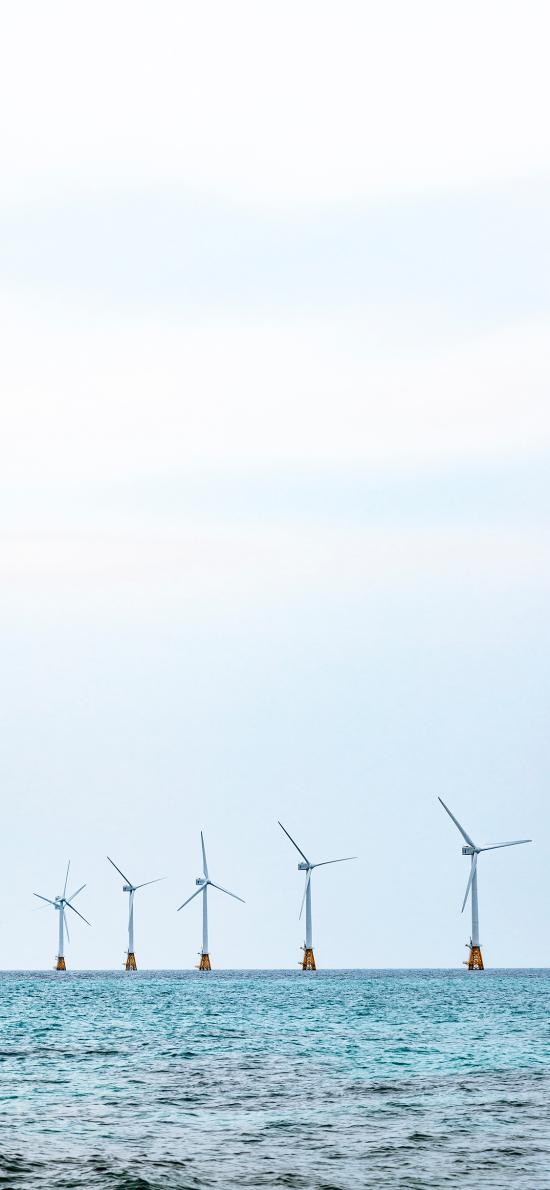 大海 海平面 风力发电机 风车