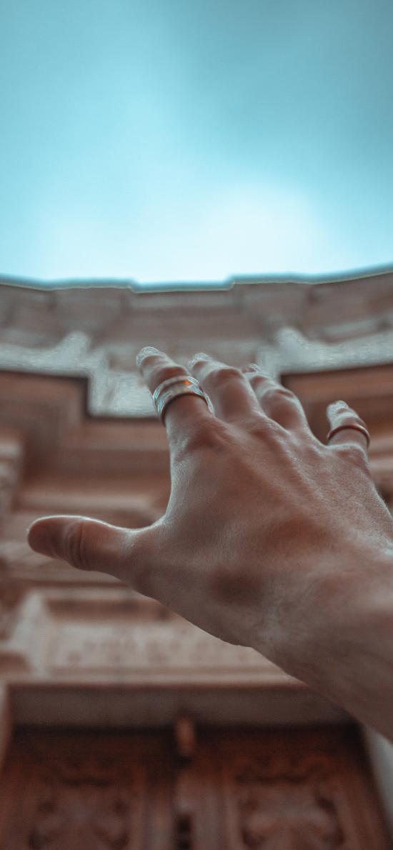 伸手 触摸 建筑 肢体