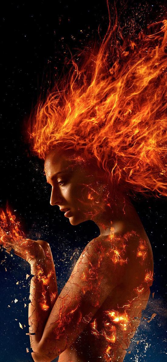 X战警 黑凤凰传奇 电影 海报 欧美 火焰
