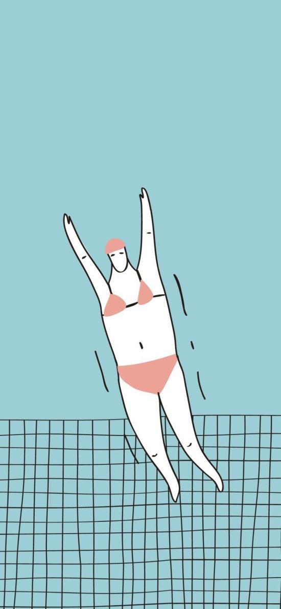 跳水 情侣 女 蓝色