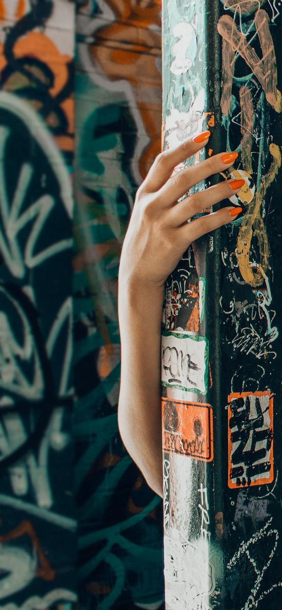 手 指甲油 涂鸦 肢体