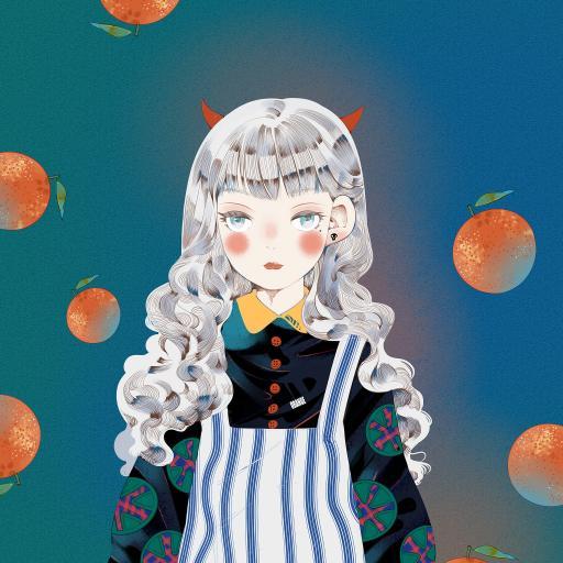 女孩 插画 艺术 橘子