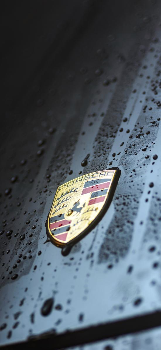 保时捷 黑色 雨水 车标 logo