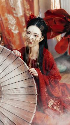 女孩 古风写真 红裙 妆容