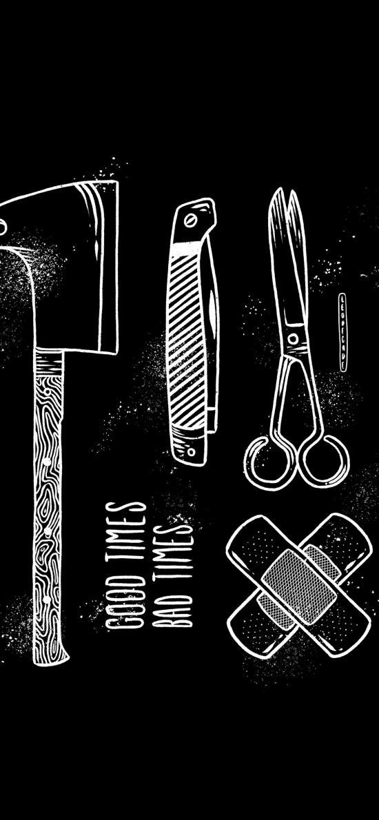 工具 趣味 黑白 剪刀 斧頭 刀具