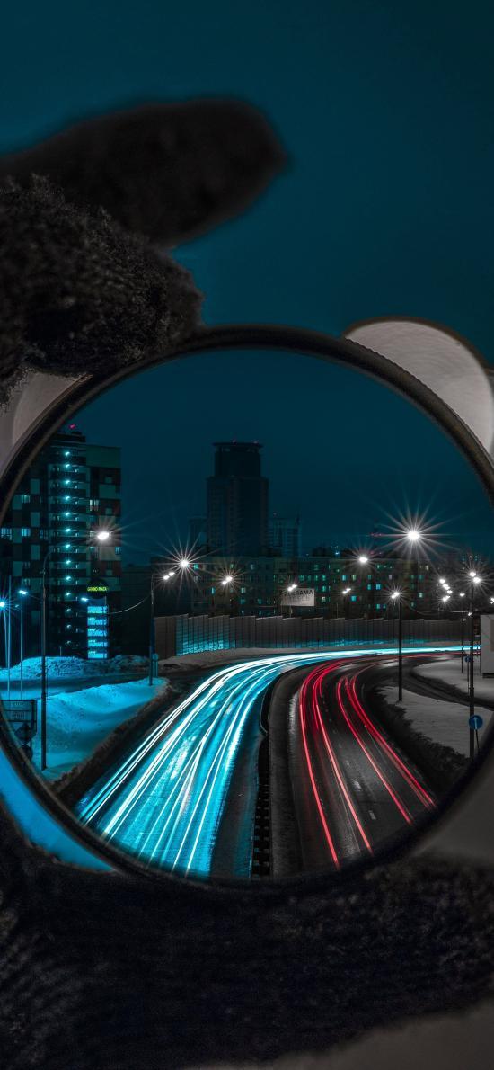 夜晚 馬路 城市 鏡頭 圓形