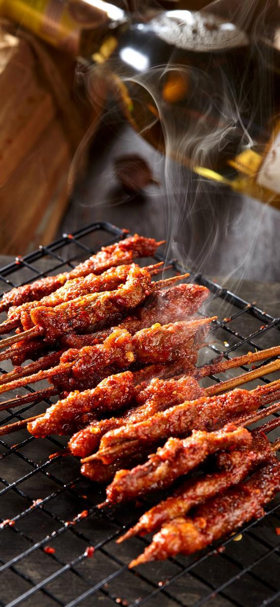 烤串 烧烤 肉 烟 撸串