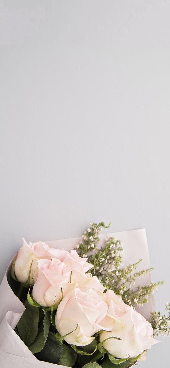 花束 鮮花 粉玫瑰 淡雅