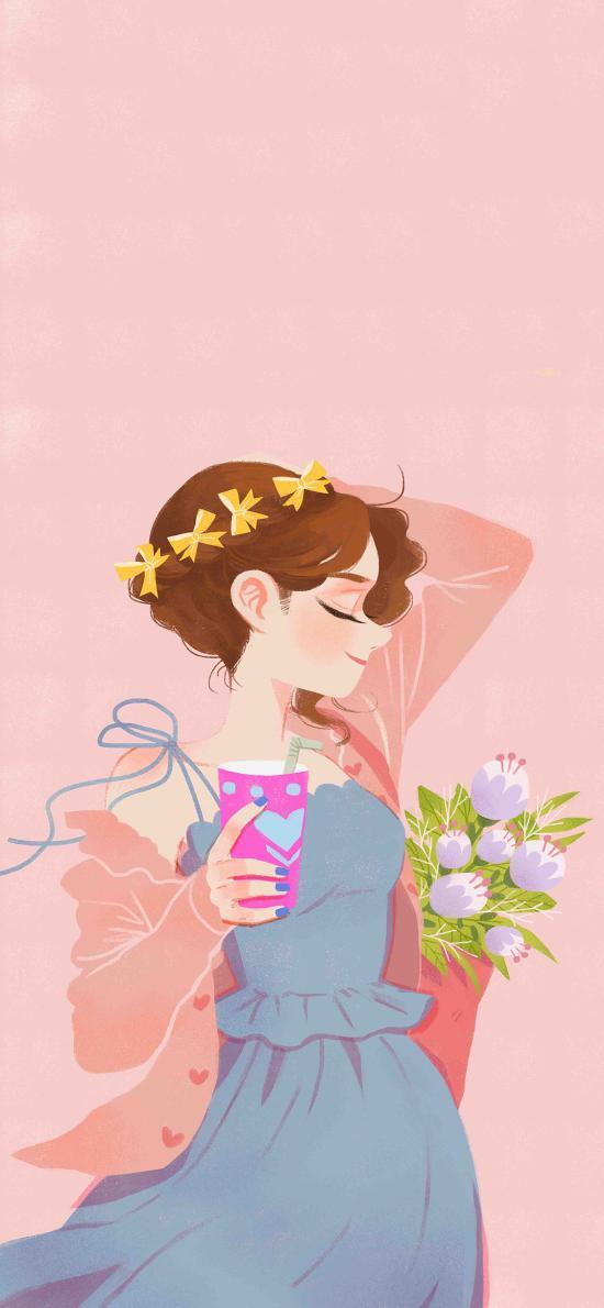 女孩 插画 粉色系 淑女