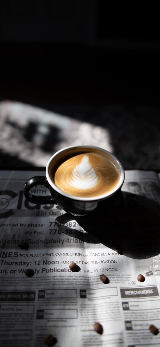 咖啡 报纸 拉花 咖啡豆