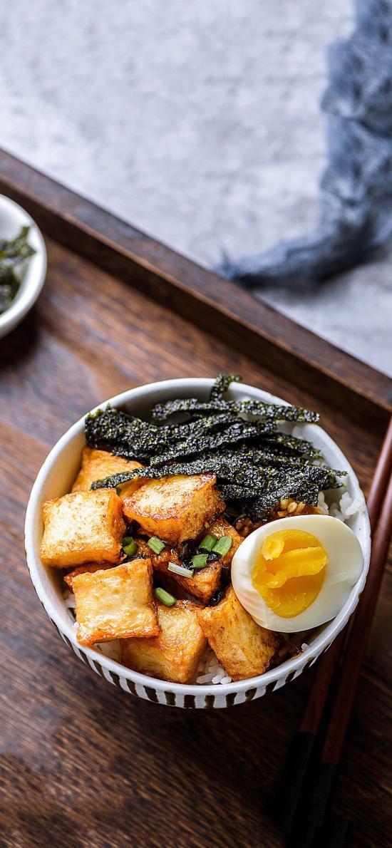 日式 米饭 豆腐 鸡蛋 紫菜
