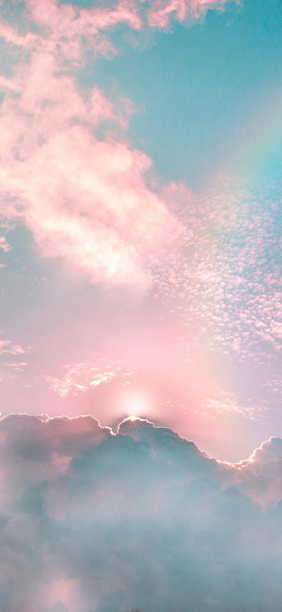 天空 渐变 彩虹 天空