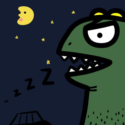 动漫 卡通 恐龙 绿色  夜晚
