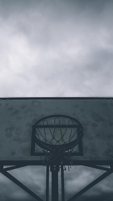 篮球场 球框 树木 黑白