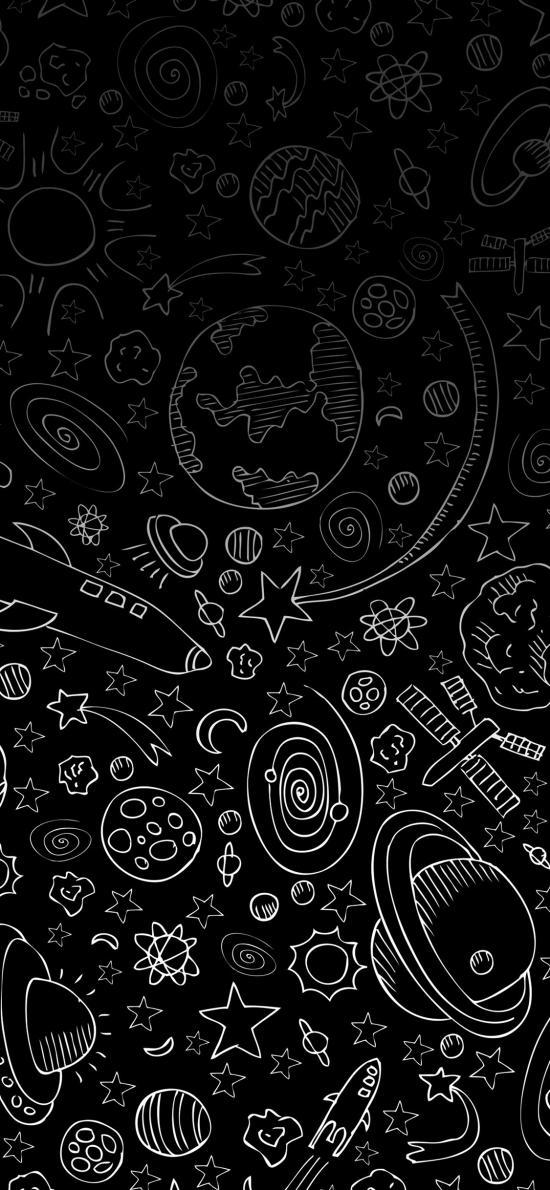 宇宙 涂鸦 太空 地球 飞机 黑色