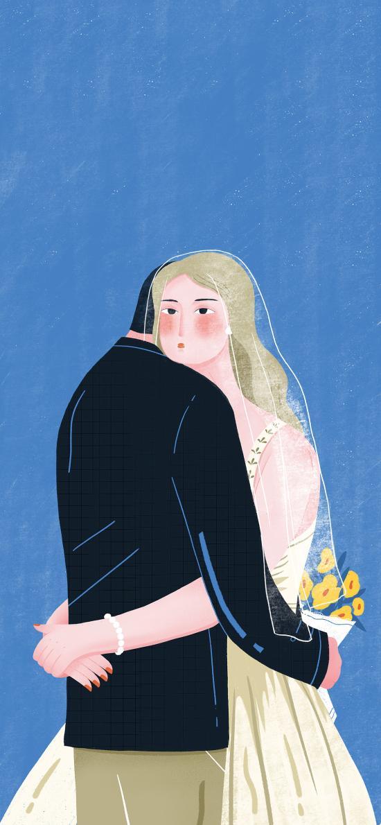 插画 情侣 婚纱 拥抱 结婚