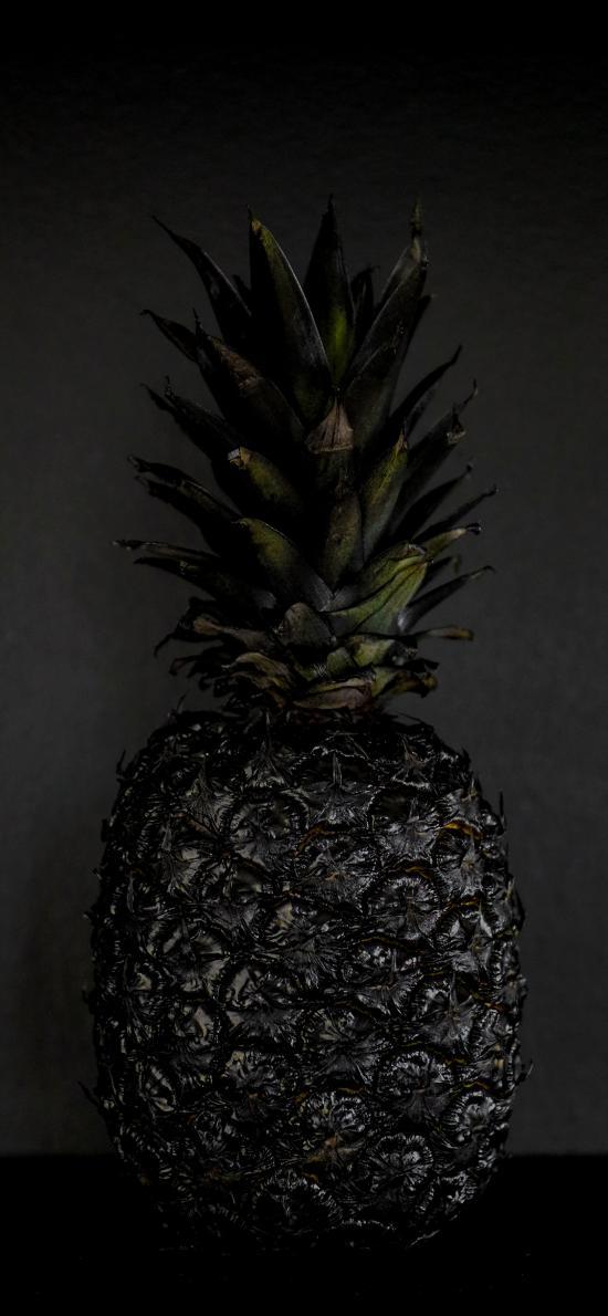 热带 水果 菠萝 烤火 黑色