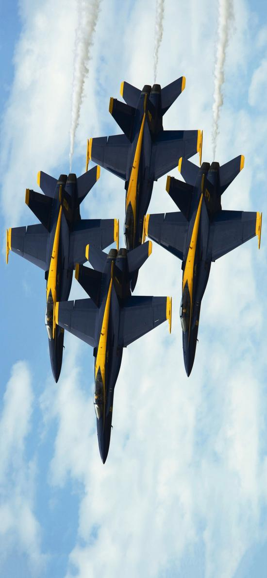 飞机 飞行 航空 战斗机 排列 蓝色