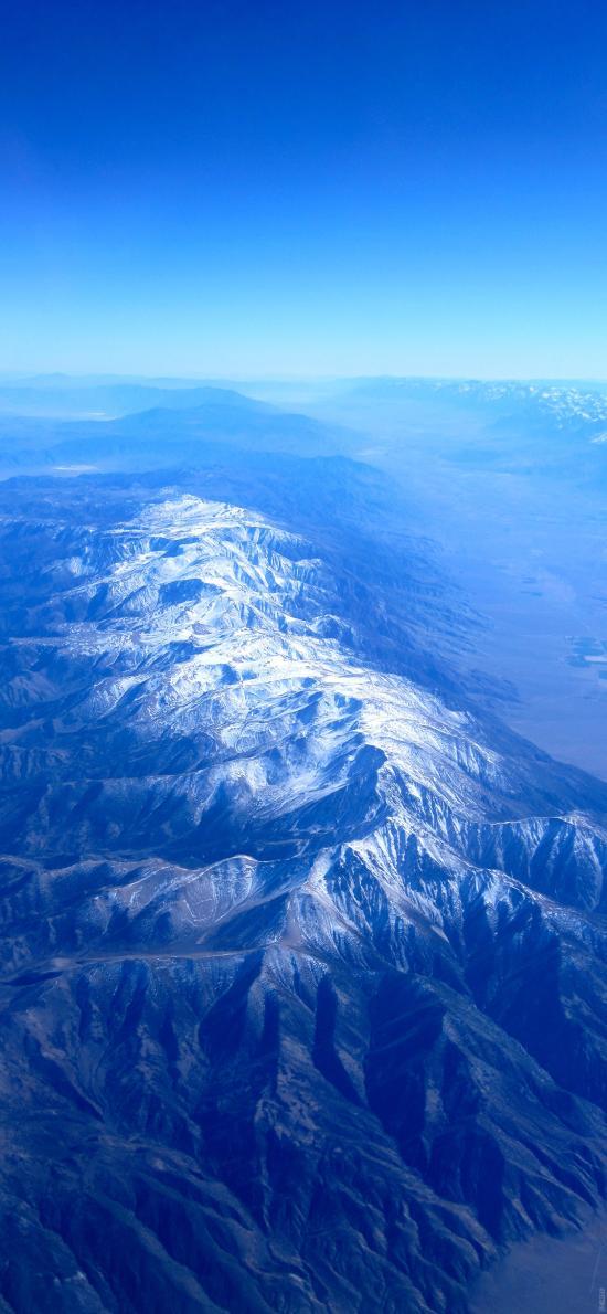 雪山 蓝色 俯视 航拍 山脉