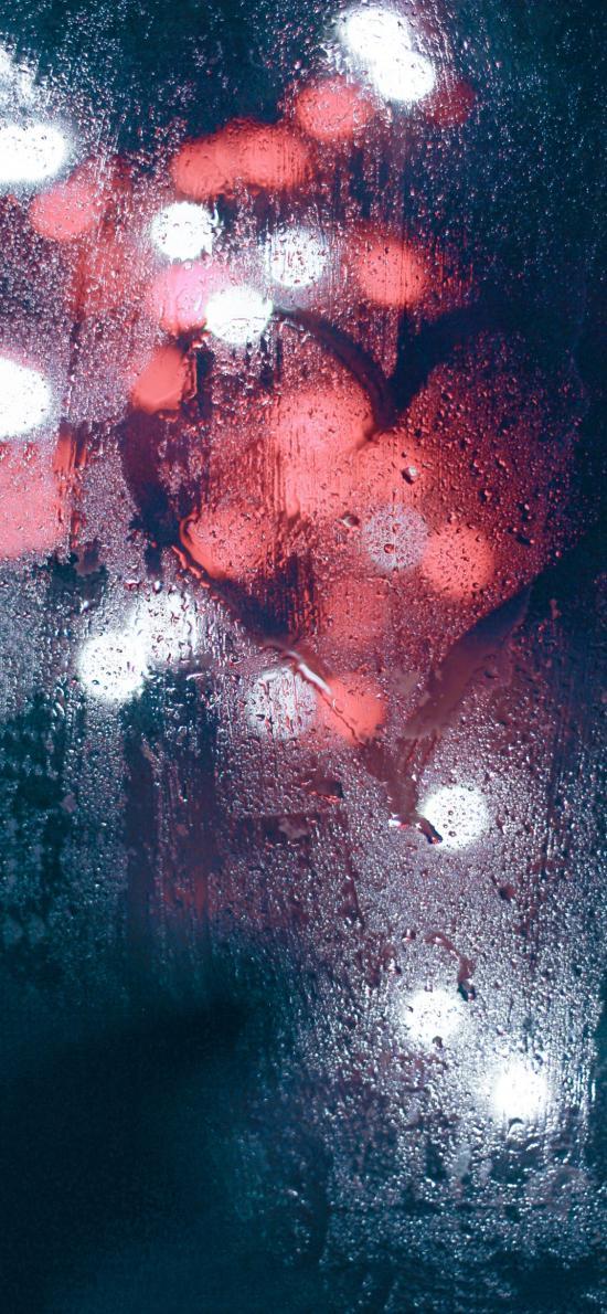 爱心 爱情 浪漫 雨水 玻璃 心形