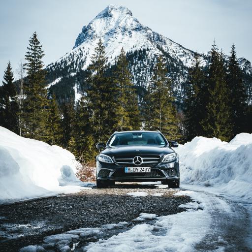 奔驰 豪车 积雪 道路 雪山