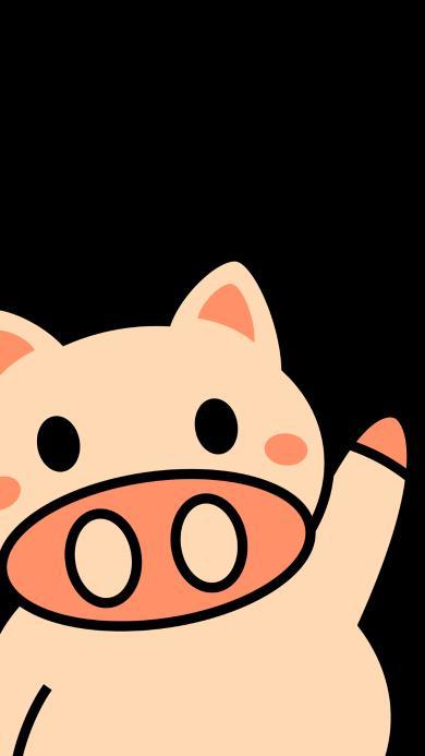 小猪 黑色 卡通 可爱