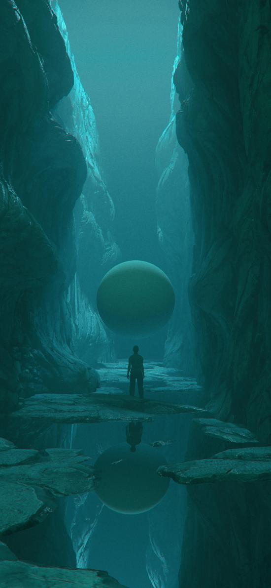 空間 球體 背影 水 倒影