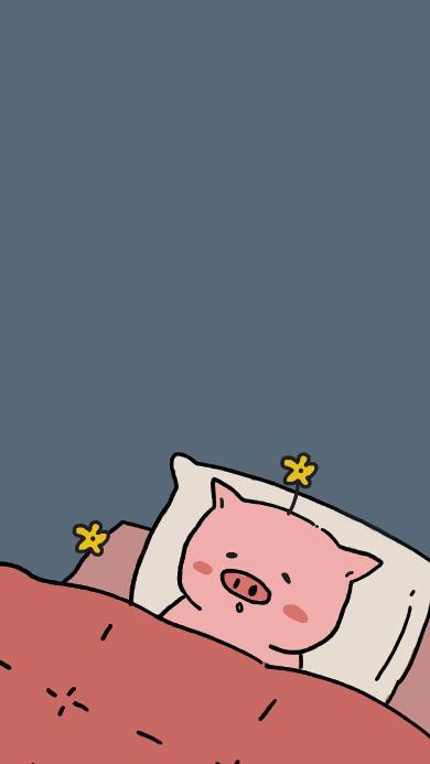 情侣壁纸可爱 睡眠 小花 猪