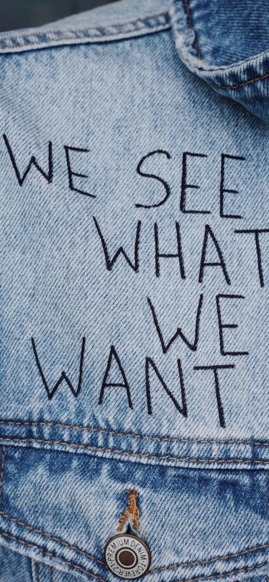 我们看到我们想要的 we see what we want 牛仔衣 英文 英语