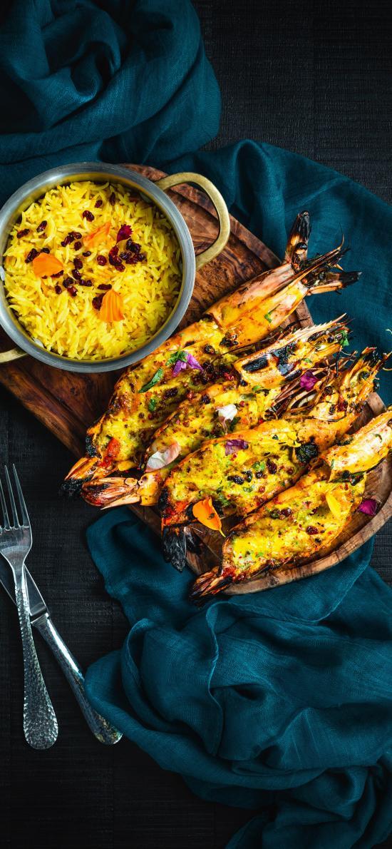 芝士焗虾 案板 西式 餐具