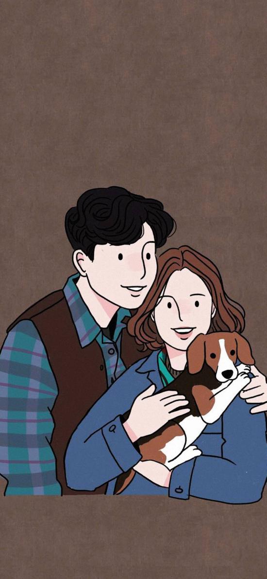 情侣 拥抱 宠物狗 温馨 插画