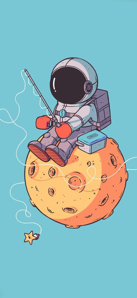 卡通 宇航员 星球 垂钓 趣味