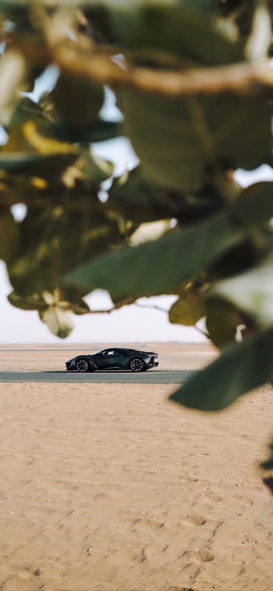 跑车 炫酷 道路 荒漠 行驶