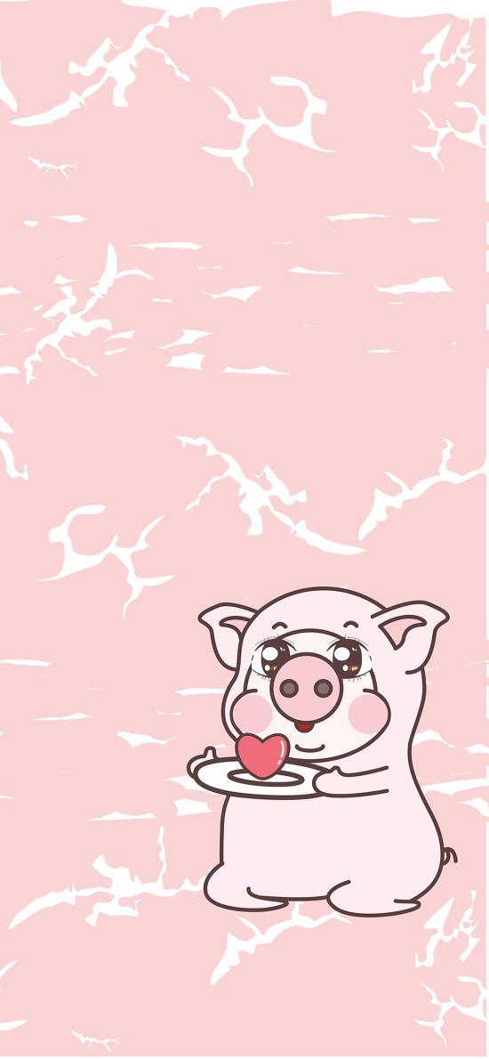 可爱 绘画 粉 爱心 恭猪