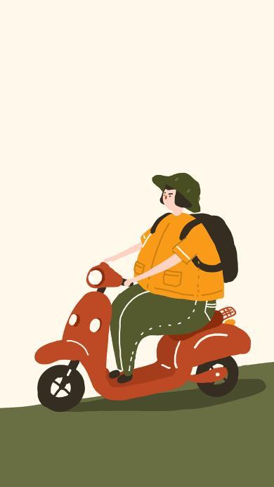 插画 绘画 小绵羊 摩托车