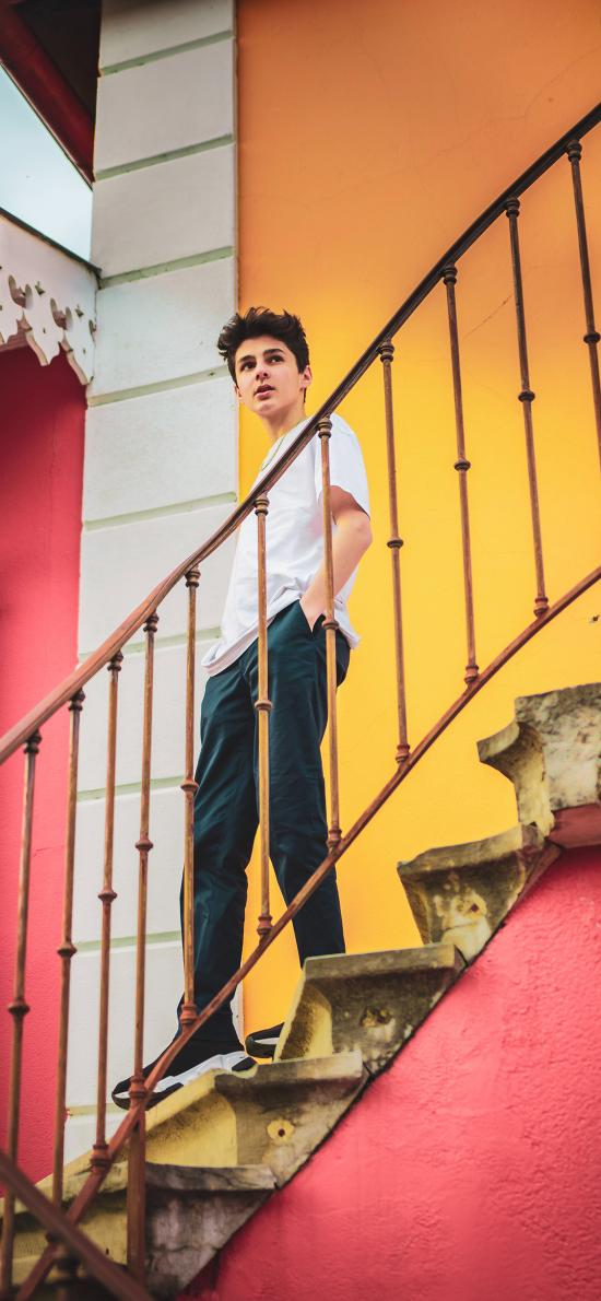 歐美 男孩 樓梯 寫真