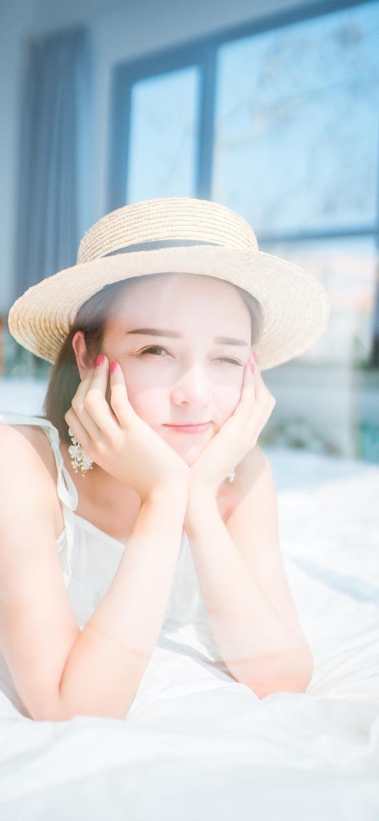 女孩 光线 清新 帽子 阳光