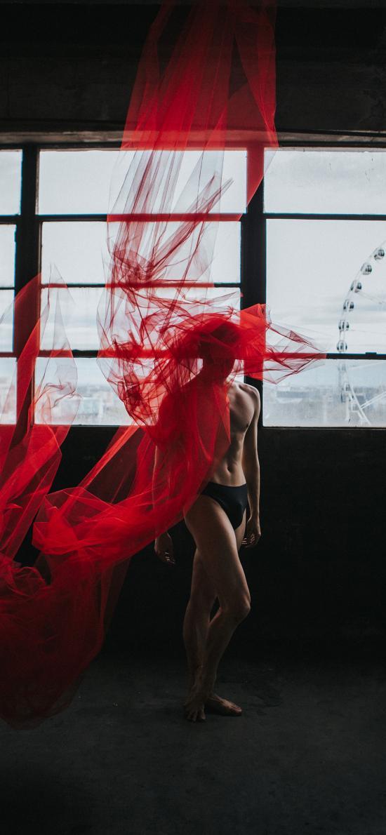 艺术 红纱 薄纱 裸体 窗户