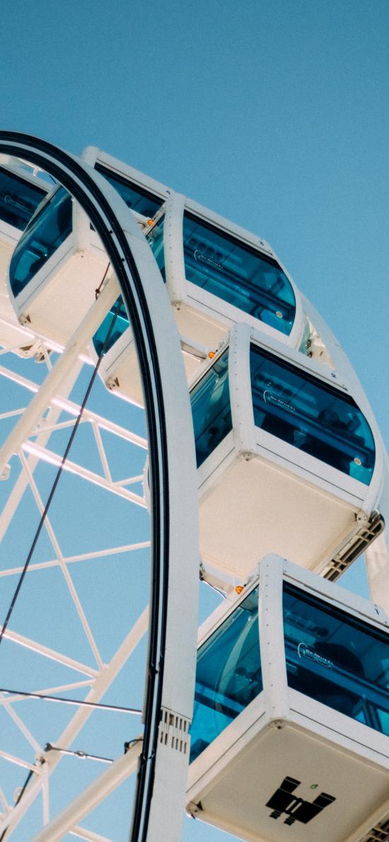 摩天轮 蓝色 娱乐设施 旋转